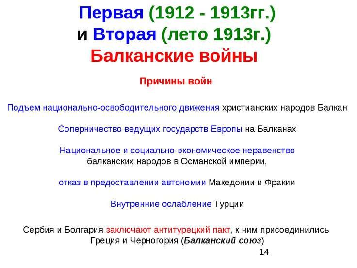 Первая (1912 - 1913гг.) и Вторая (лето 1913г.) Балканские войны Причины войн ...