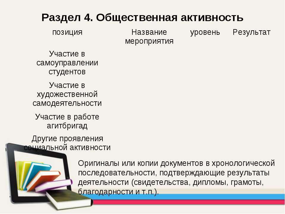 Раздел 4. Общественная активность Оригиналы или копии документов в хронологич...