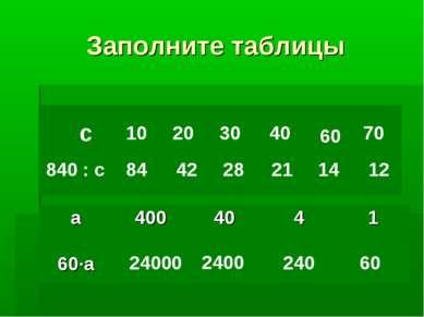 Заполните таблицы с 840 : с 10 84 20 42 30 28 40 21 60 14 70 12 24000 2400 24...