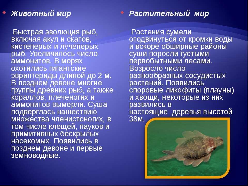 Животный мир Быстрая эволюция рыб, включая акул и скатов, кистеперых и лучепе...