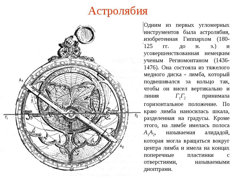 Астролябия Одним из первых угломерных инструментов была астролябия, изобретен...