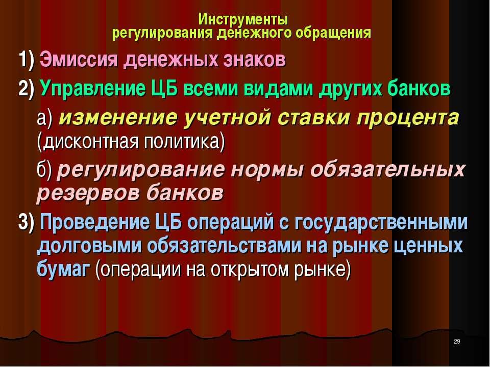 Инструменты регулирования денежного обращения 1) Эмиссия денежных знаков 2) У...