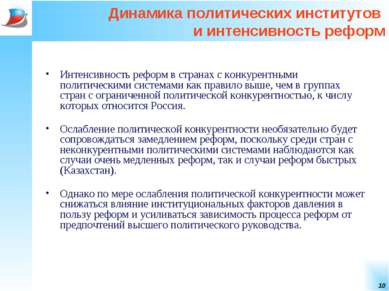 * Динамика политических институтов и интенсивность реформ Интенсивность рефор...