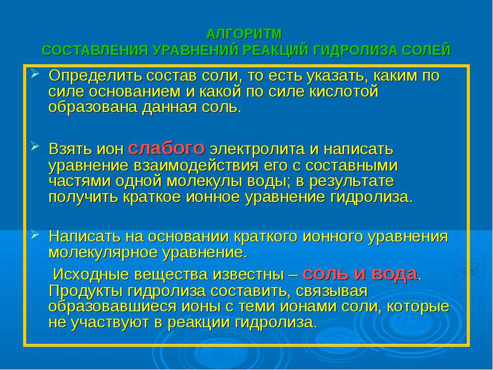 АЛГОРИТМ СОСТАВЛЕНИЯ УРАВНЕНИЙ РЕАКЦИЙ ГИДРОЛИЗА СОЛЕЙ Определить состав соли...