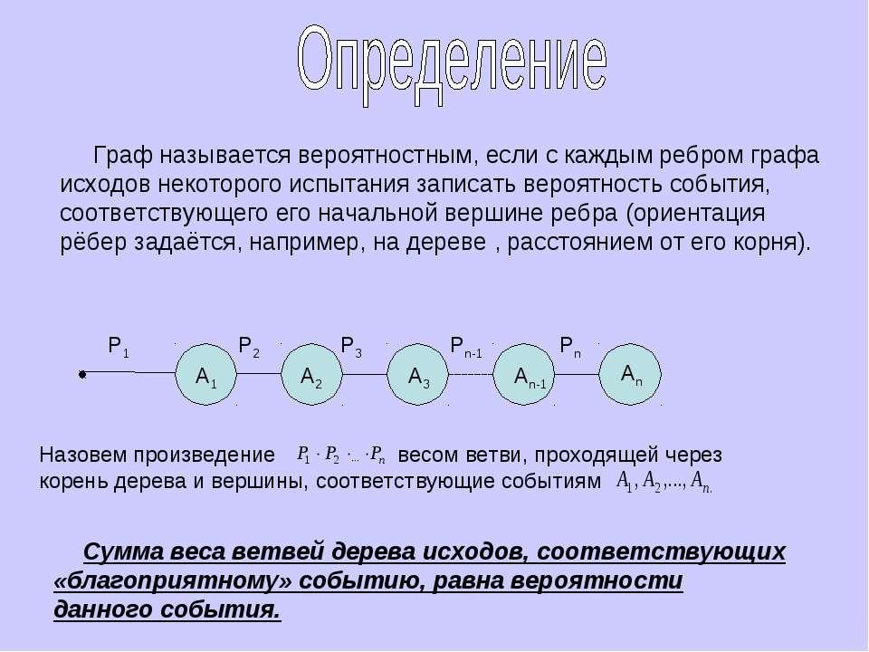 Граф называется вероятностным, если с каждым ребром графа исходов некоторого ...