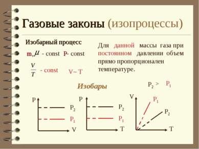 Газовые законы (изопроцессы) Изобарный процесс Для данной массы газа при пост...