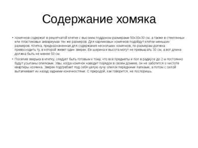 Содержание хомяка Хомячков содержат в решетчатой клетке с высоким поддоном ра...