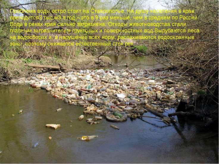 Проблема воды остро стоит на Ставрополье. На душу населения в крае приходится...