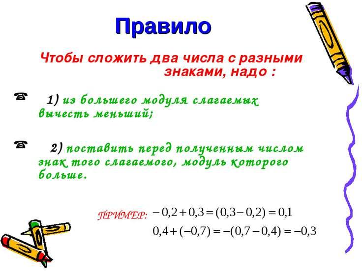 Правило Чтобы сложить два числа с разными знаками, надо : 1) из большего моду...