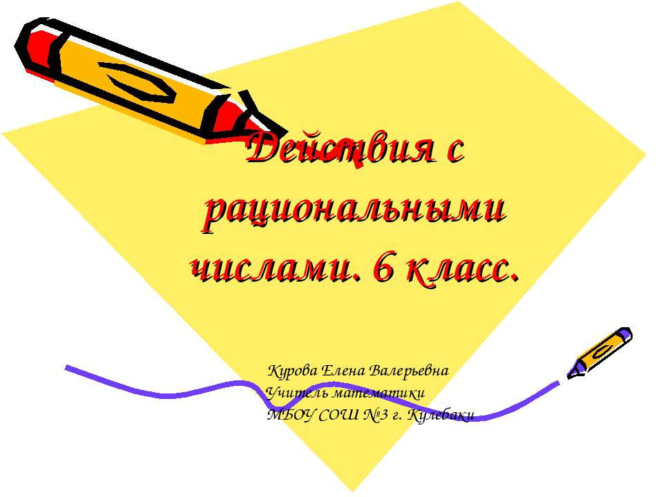 Действия с рациональными числами. 6 класс. Курова Елена Валерьевна Учитель ма...