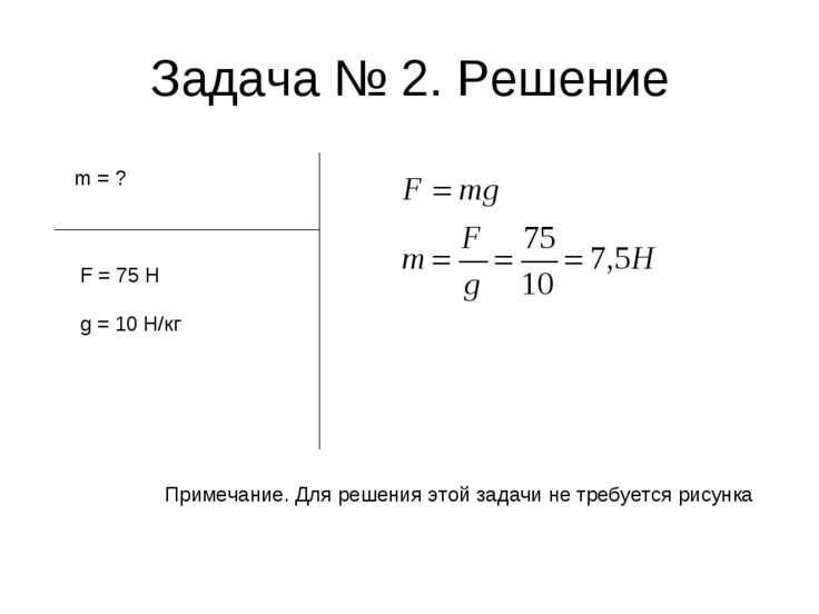Задача № 2. Решение m = ? F = 75 Н g = 10 Н/кг Примечание. Для решения этой з...