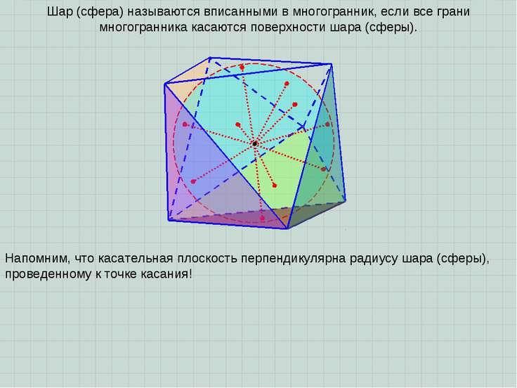 Шар (сфера) называются вписанными в многогранник, если все грани многогранник...