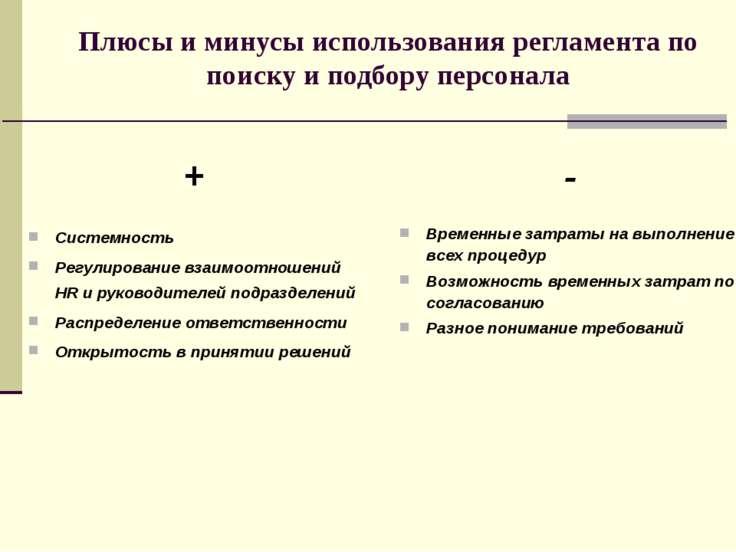 Плюсы и минусы использования регламента по поиску и подбору персонала + Систе...