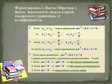 * Формулировка т. Виета. Обратная т. Виета. Зависимость знаков корней квадрат...