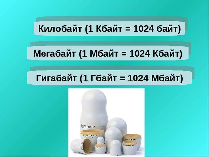 Мегабайт (1 Мбайт = 1024 Кбайт) Килобайт (1 Кбайт = 1024 байт) Гигабайт (1 Гб...