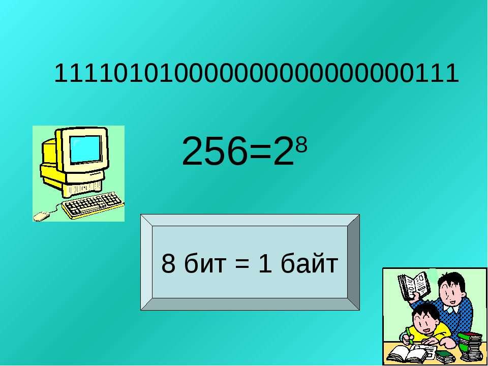 111101010000000000000000111 256=28 8 бит = 1 байт