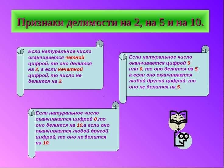 Признаки делимости на 2, на 5 и на 10. Если натуральное число оканчивается че...