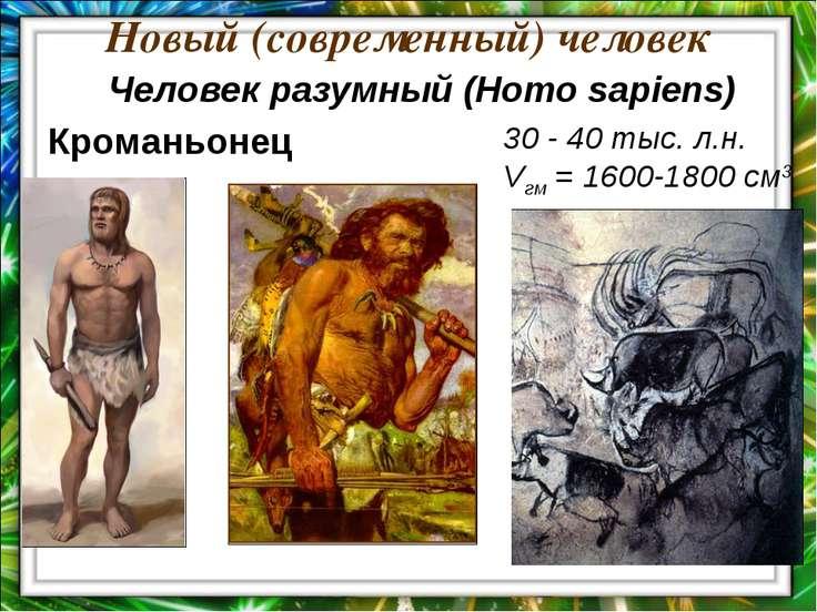 Новый (современный) человек 30 - 40 тыс. л.н. Vгм = 1600-1800 см3 Кроманьонец...