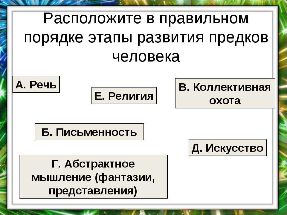 Расположите в правильном порядке этапы развития предков человека А. Речь Б. П...