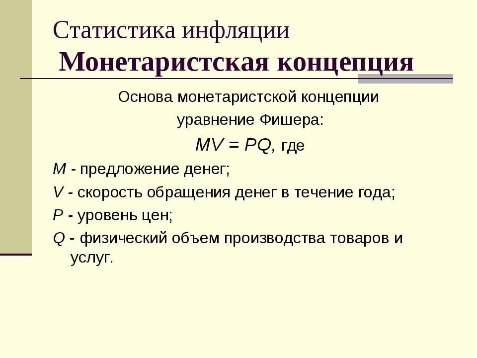 Статистика инфляции Монетаристская концепция Основа монетаристской концепции ...