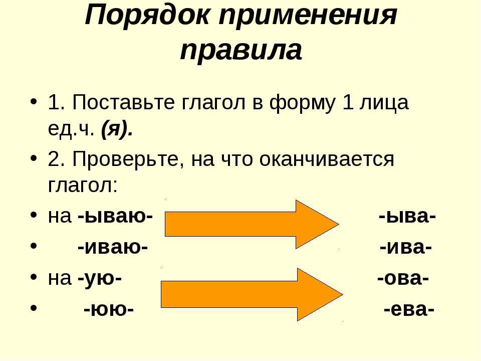 Порядок применения правила 1. Поставьте глагол в форму 1 лица ед.ч. (я). 2. П...