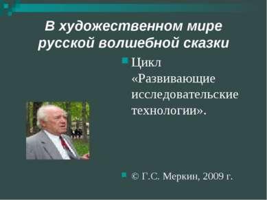 В художественном мире русской волшебной сказки Цикл «Развивающие исследовател...