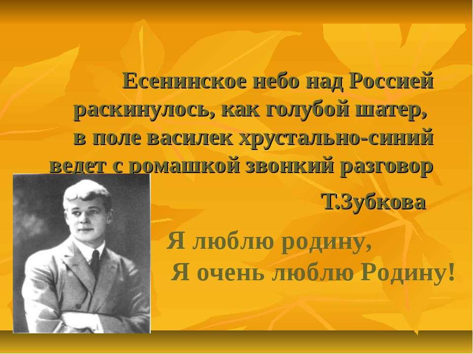Есенинское небо над Россией раскинулось, как голубой шатер, в поле василек хр...