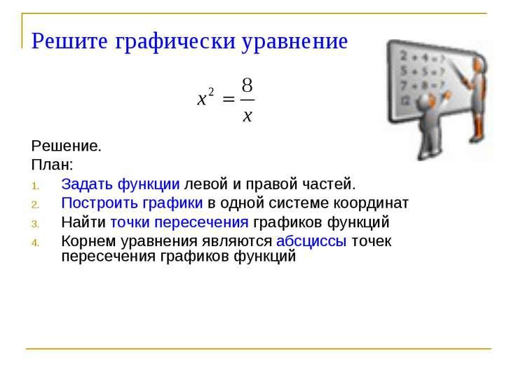 Решите графически уравнение Решение. План: Задать функции левой и правой част...