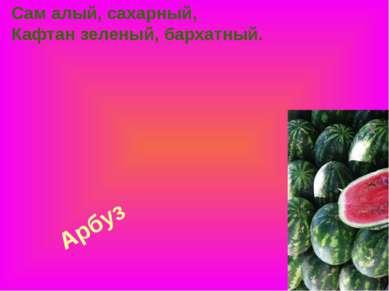 Арбуз Сам алый, сахарный, Кафтан зеленый, бархатный.