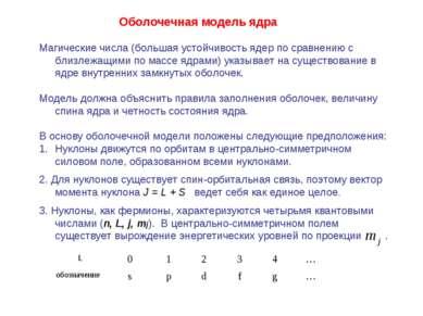 Оболочечная модель ядра Магические числа (большая устойчивость ядер по сравне...
