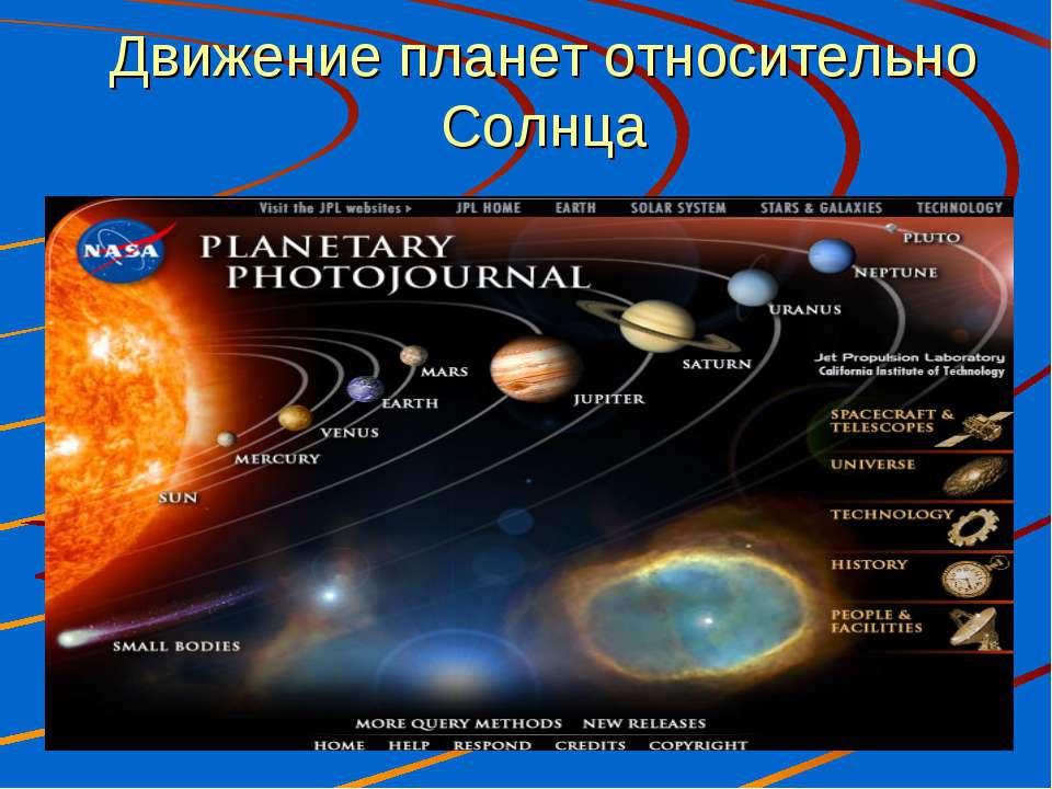Движение планет относительно Солнца