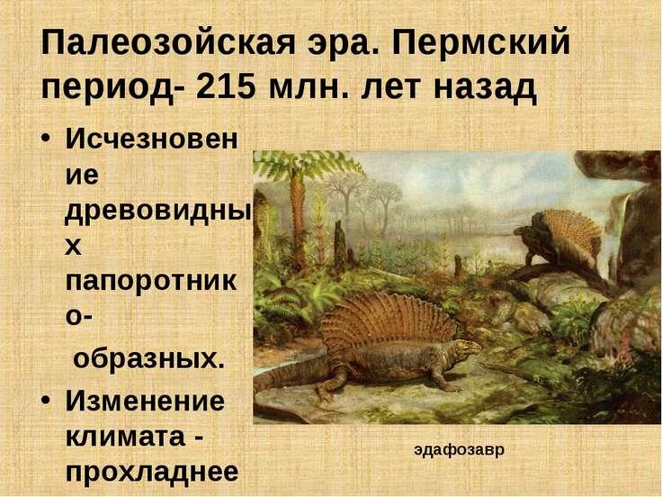 Палеозойская эра. Пермский период- 215 млн. лет назад Исчезновение древовидны...