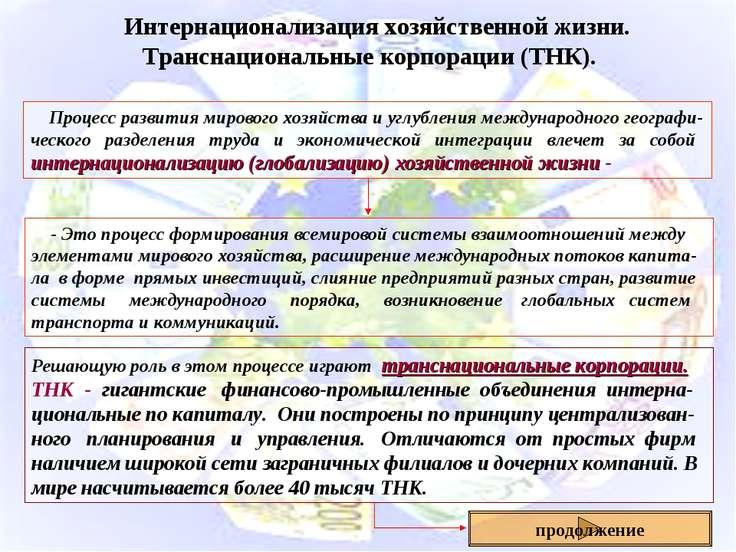 Интернационализация хозяйственной жизни. Транснациональные корпорации (ТНК). ...