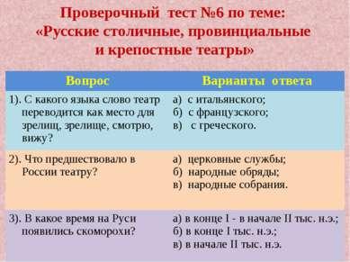 Проверочный тест №6 по теме: «Русские столичные, провинциальные и крепостные ...