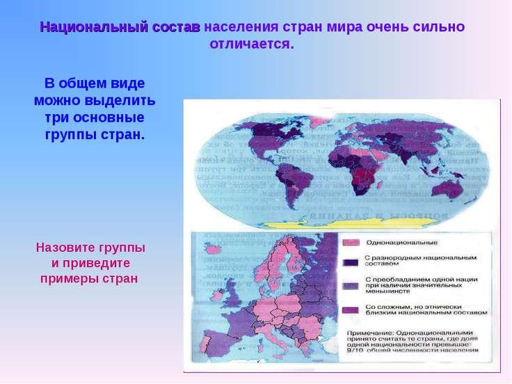 Национальный состав населения стран мира очень сильно отличается. В общем вид...