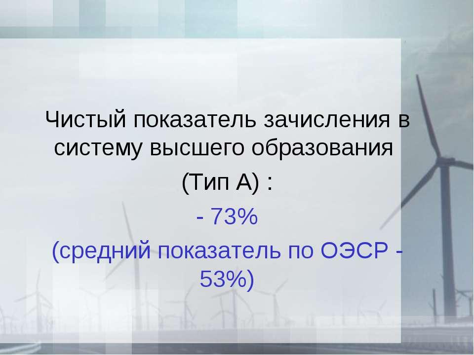Чистый показатель зачисления в систему высшего образования (Тип А) : - 73% (с...