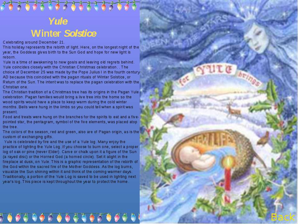 Yule Winter Solstice Celebrating around December 21. This holiday represents ...