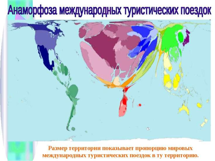 Размер территории показывает пропорцию мировых международных туристических по...
