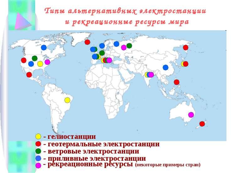 - гелиостанции - геотермальные электростанции - ветровые электростанции - при...