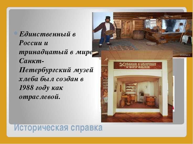 Историческая справка Единственный в России и тринадцатый в мире Санкт-Петербу...
