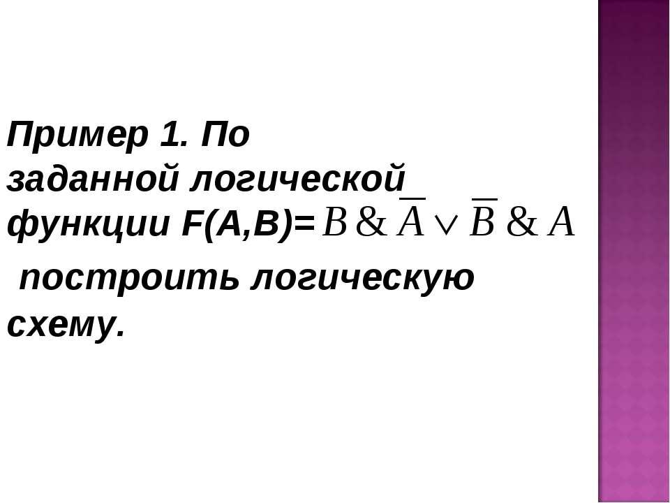 Пример 1. По заданной логической функции F(A,B)= построить логическую схему.