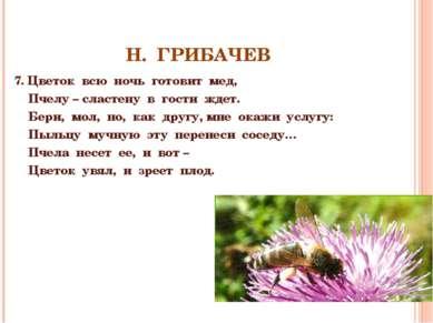 Н. ГРИБАЧЕВ 7. Цветок всю ночь готовит мед, Пчелу – сластену в гости ждет. Бе...