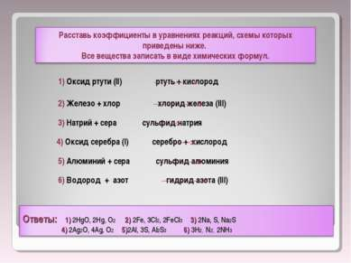1) Оксид ртути (ll) ртуть + кислород 2) Железо + хлор хлорид железа (lll) 3) ...