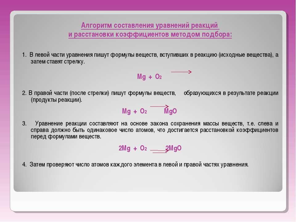 Алгоритм составления уравнений реакций и расстановки коэффициентов методом по...