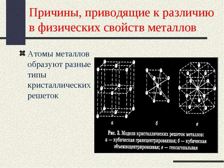Причины, приводящие к различию в физических свойств металлов Атомы металлов о...