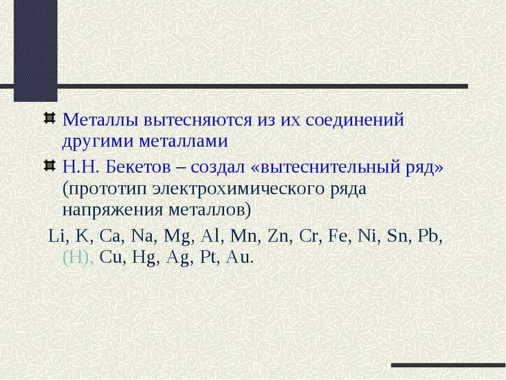 Металлы вытесняются из их соединений другими металлами Н.Н. Бекетов – создал ...