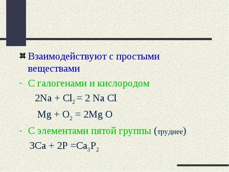 Взаимодействуют с простыми веществами С галогенами и кислородом 2Na + Cl2 = 2...