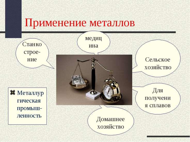 Применение металлов Металлургическая промыш-ленность Станкострое-ние медицина...
