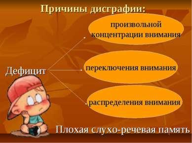 Причины дисграфии: произвольной концентрации внимания переключения внимания р...