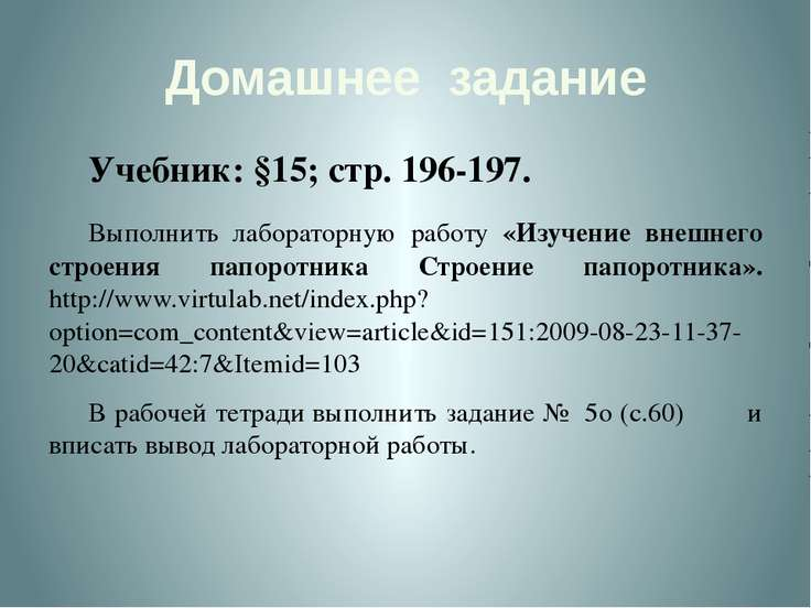 Домашнее задание Учебник: §15; стр. 196-197. Выполнить лабораторную работу «И...